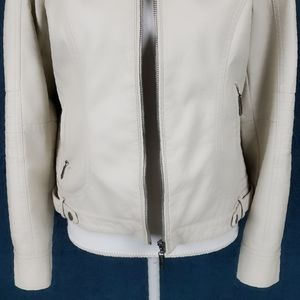 Jou Jou Jackets & Coats - JouJou Vegan Leather Bomber Jacket Cream Size M